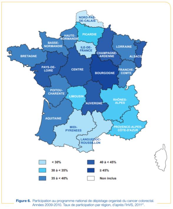 Dépistage du cancer colorectal en France par région